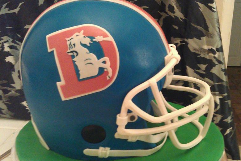 Denver Broncos Football helmet wedding cake