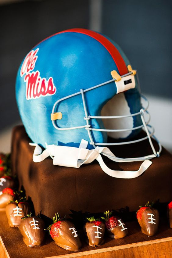 Ole Miss Helmet Grooms Cake Fail - Poorly constructed Face mask