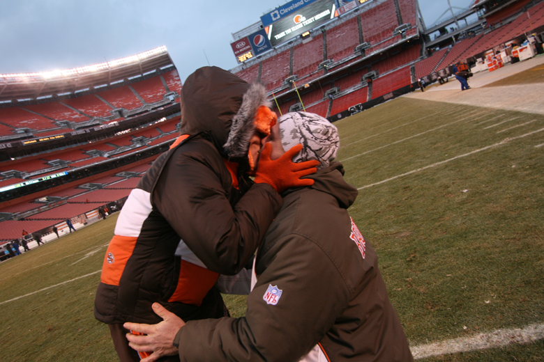 Proposal on field at Cleveland Browns Stadium