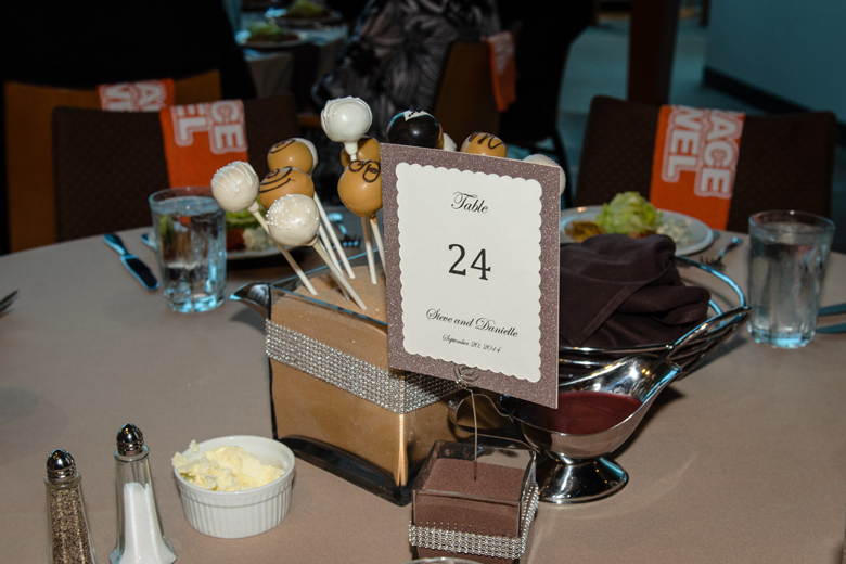Wedding Table reception centerpiece - Cleveland Browns