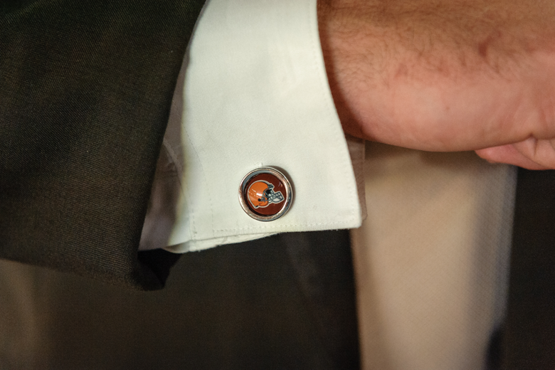 Groom's tuxedo accessory - Cleveland Browns cuff links