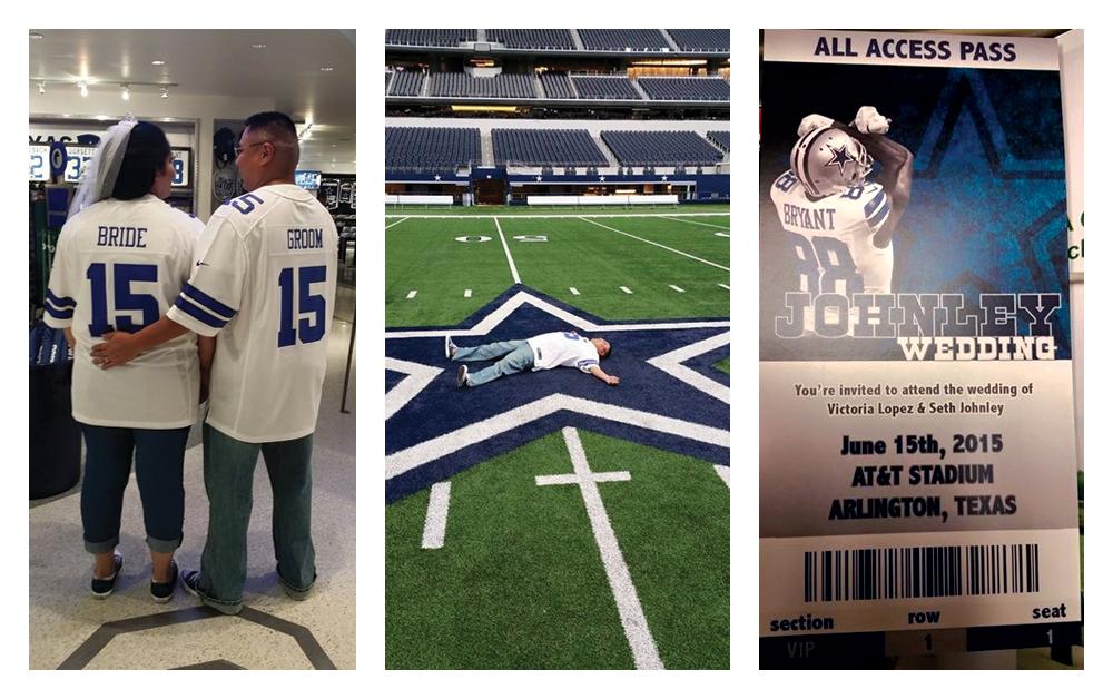 Victoria and Seth's Dallas Cowboys Themed Wedding at AT&T Stadium | Sports Wedding Bride
