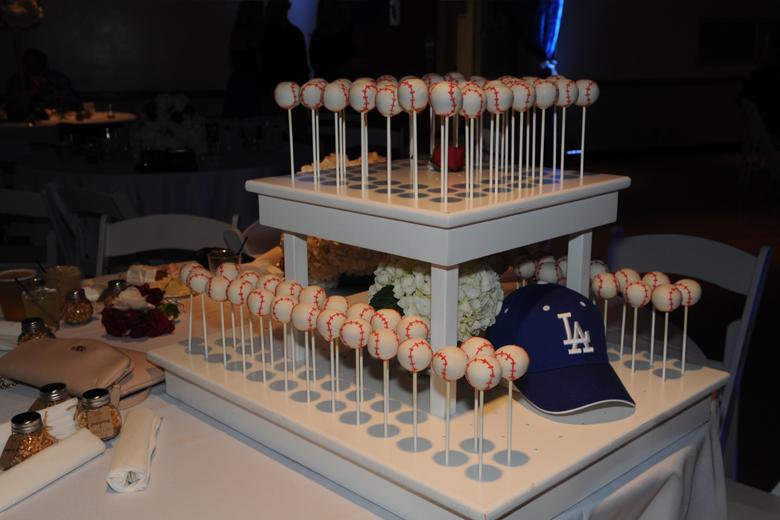 Baseball themed wedding cake pops
