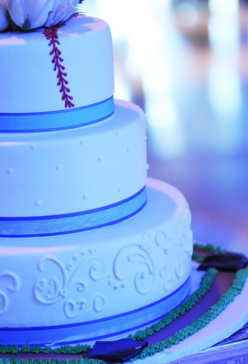 classy baseball wedding cake