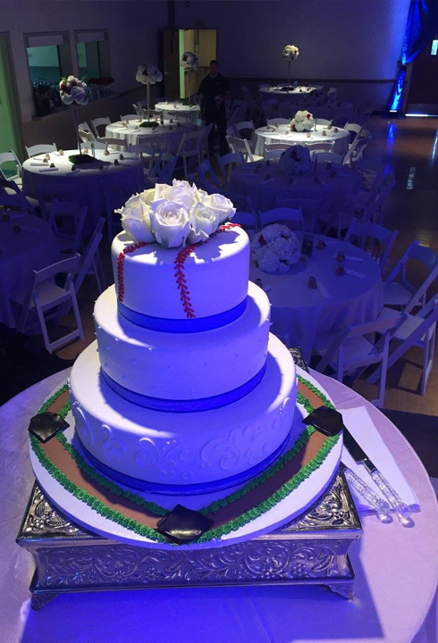 elegant baseball wedding cake