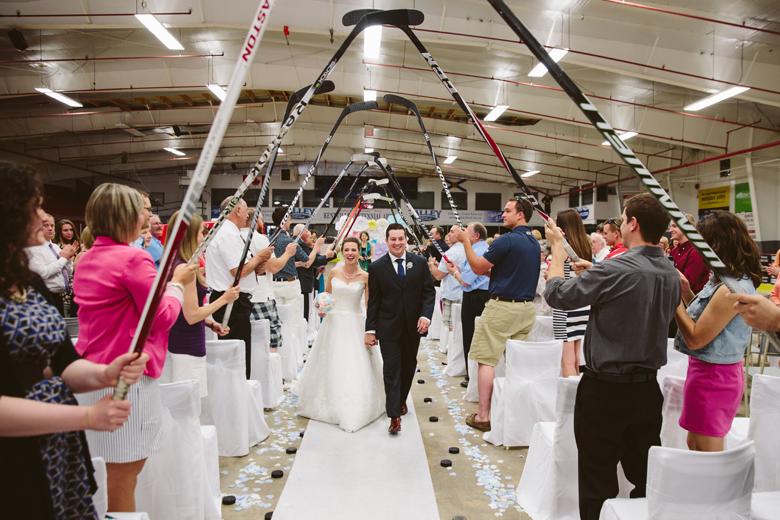 hockey stick archway for hockey wedding