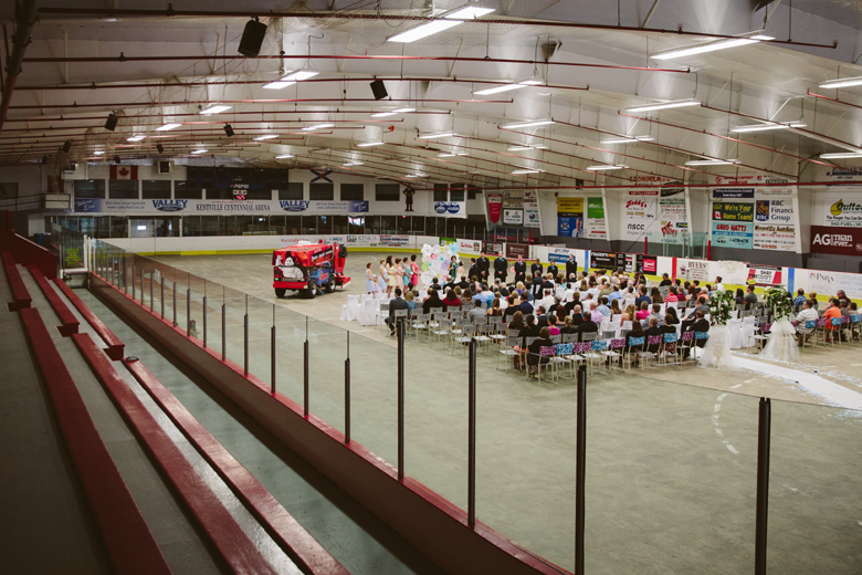 hockey themed wedding on the ice