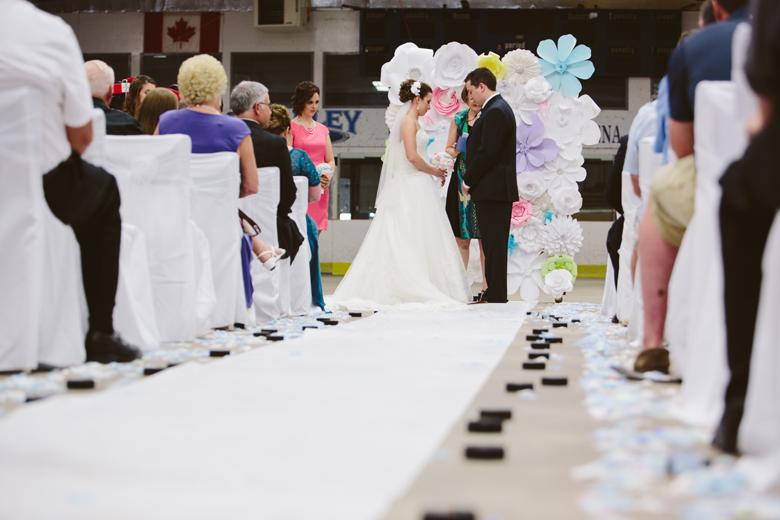 hockey wedding couple