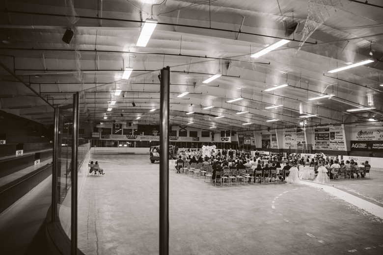 ice rink wedding - hockey themed