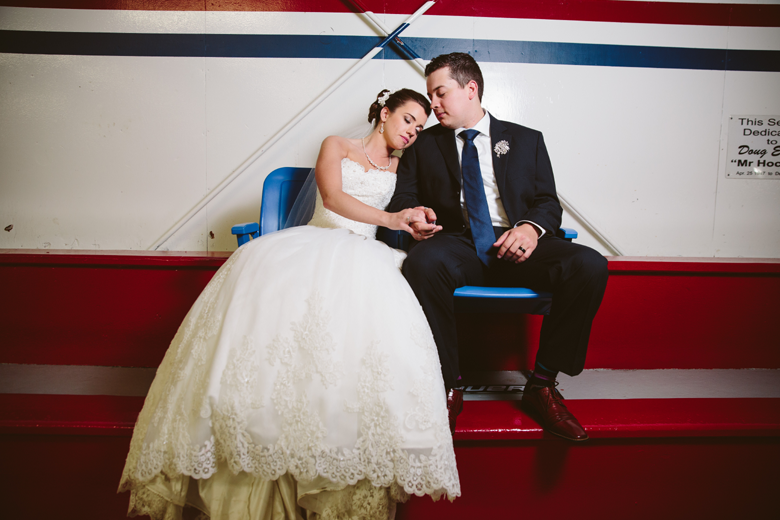 hockey wedding bride and groom