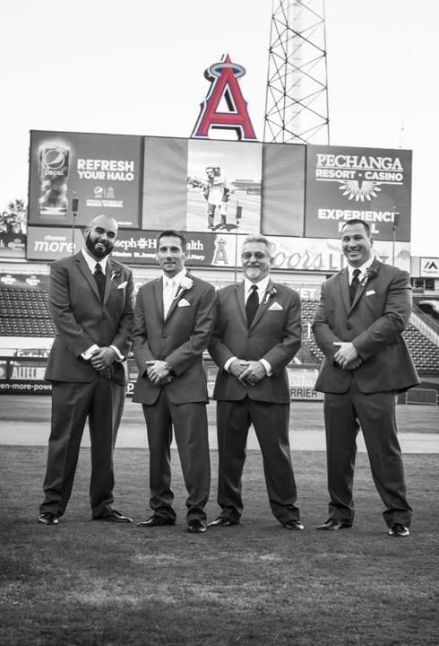 Angel Stadium Baseball themed wedding Groomsmen