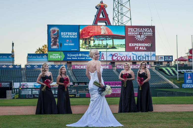 Angel Stadium Baseball themed wedding Bridesmaids