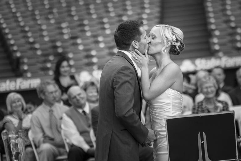 Baseball Wedding Bride and Groom