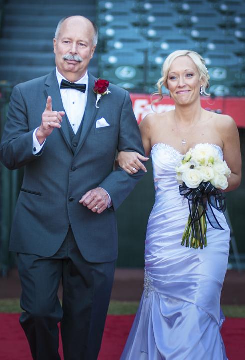 Angel Stadium Wedding Bride