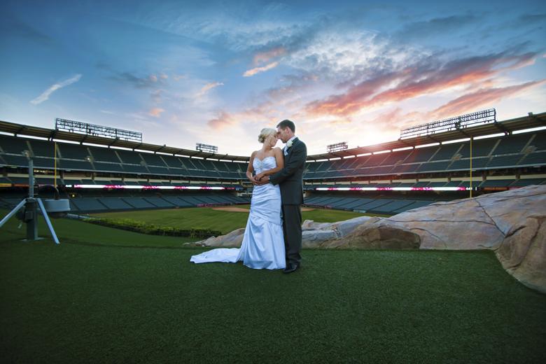 Baseball Themed Wedding Bride and Groom