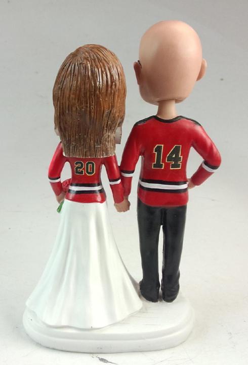 Wedding cake topper figurines - hockey themed