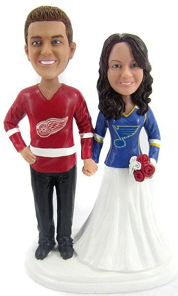 Hockey wedding cake topper rivalry