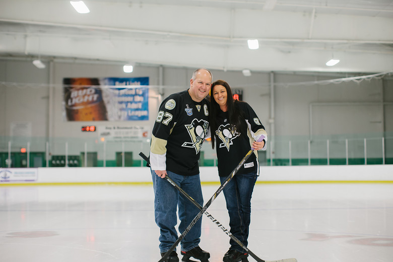 Bride and Groom hockey themed wedding