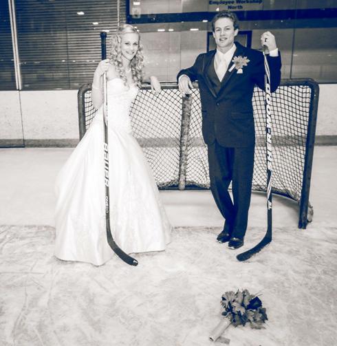 Hockey Themed Wedding Bride and Groom