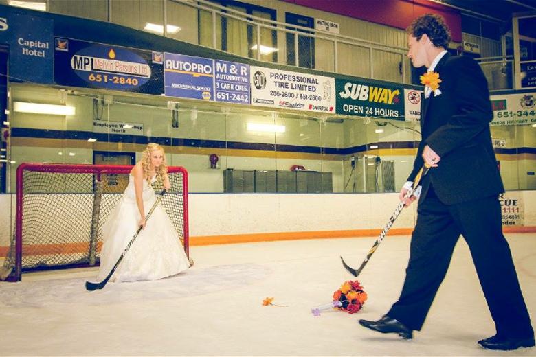 Bride in hockey goal