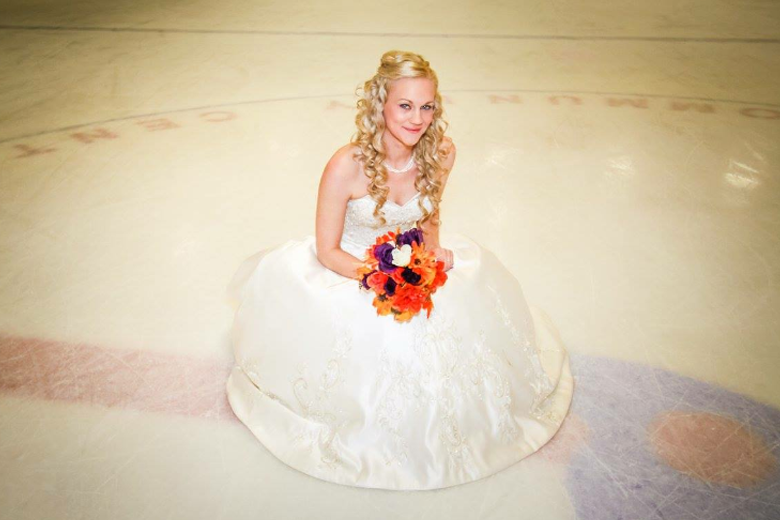 Hockey themed wedding bride