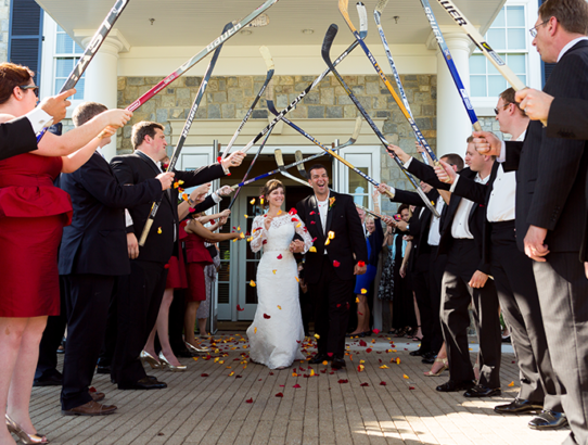 NHL Hockey Stick Archway - Bride and Groom